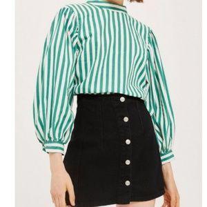 Topshop Blouson Sleeve Striped Top